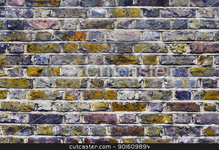 Brick wall stock photo, Colorful brick wall background by Dutourdumonde