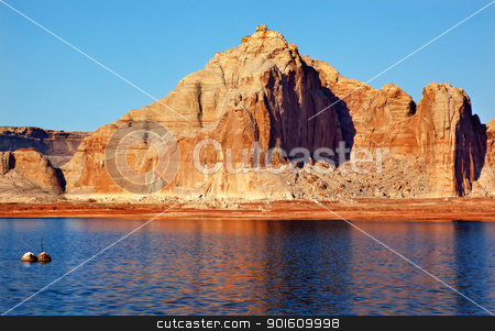 Castle Rock Wahweap Bay Lake Powell Glen Canyon Recreation Area  stock photo, Castle Rock Reflection Wahweap Bay Lake Powell Glen Canyon Recreation Area Arizona by William Perry