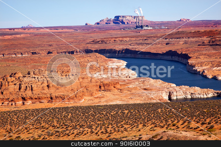 Navaho Generating Station Lake Powell Glen Canyon Recreation Are stock photo, Navaho Generating Station Antelope Canyon Lake Powell Glen Canyon Recreation Area Page Arizona by William Perry
