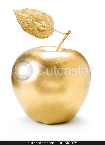 Gold apple. stock photo, Gold apple isolated on white background. by Oleksiy Fedorov