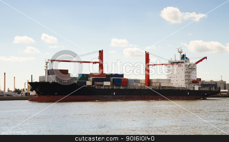 Big container ship on the river stock photo, Big container ship with onboard cranes on the river coming in to port by Colette Planken-Kooij