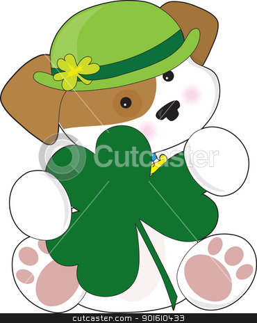 Cute Puppy St Pats stock vector clipart, A cute puppy is wearing a green Irish hat and is holding a large green shamrock. by Maria Bell