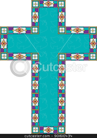 Easter Cross stock vector clipart, A turquoise color cross has outlines of peace doves and a stain glass border. by Maria Bell