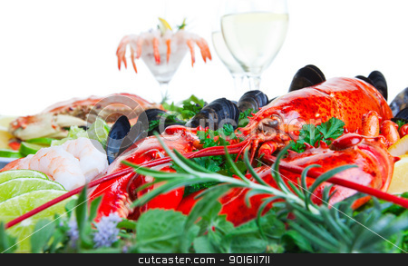 Lobster and seafood stock photo, Fresh and delicious seafood dish with white background by Steve Mcsweeny