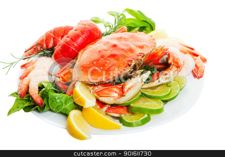Crab dinner stock photo, Platter of crab and lobster tails, focus on the crab. by Steve Mcsweeny