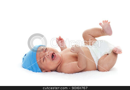 Crying baby stock photo, A native american newborn baby boy crying by Steve Mcsweeny
