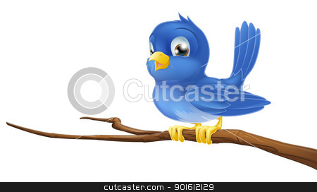 Bluebird on tree branch stock vector clipart, A blue bird cartoon character sitting on a branch by Christos Georghiou