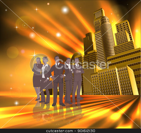 Professional team city illustration stock vector clipart, Business team of young professionals in front of modern city.  by Christos Georghiou