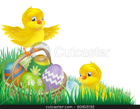 Easter chicks and egg basket stock vector clipart, An Easter chicks and Easter egg basket isolated corner design element by Christos Georghiou