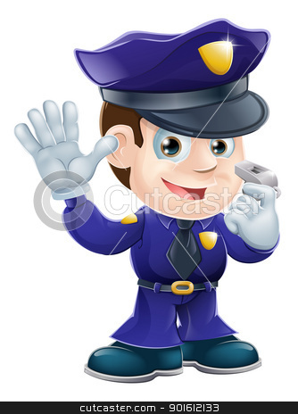 Policeman character cartoon illustration stock vector clipart, A cute police man character holding a whistle and waving or doing a stop gesture  by Christos Georghiou