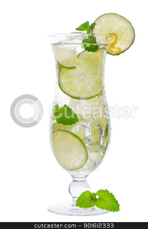 Rum cocktail stock photo, mojito cocktail drink in a tall glass with lime isolated on a white background  by Steve Mcsweeny