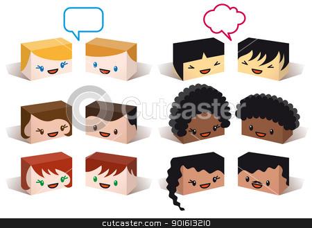 diversity avatars, vector stock vector clipart, diversity avatars, multiethnic vector people icon set by Beata Kraus