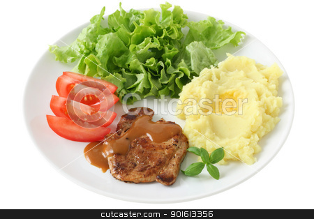 fried pork with mashed potato and salad stock photo, fried pork with mashed potato and salad by nataliamylova