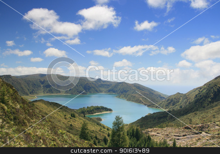 lake on Azores stock photo, lake on Azores by nataliamylova