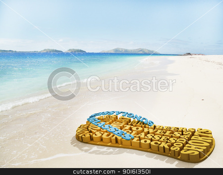 beach shoes made of summer words on the beach on a bright day  stock photo, beach shoes made of summer words on the beach on a bright day  by dacasdo