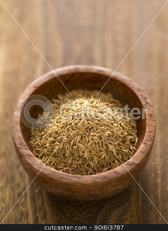 cumin seeds stock photo, close up of a bowl of cumin seeds by zkruger