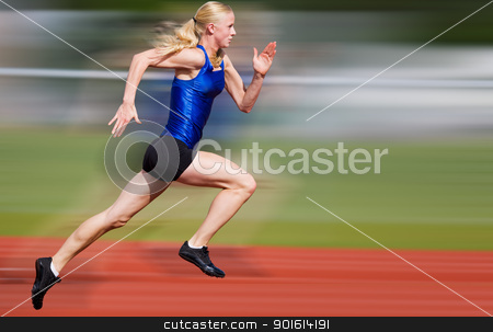 Speed blur stock photo, Young athlete running down the track with motion blur added by Steve Mcsweeny