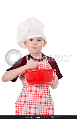 boy in chef's hat stock photo,  boy in chef's hat makes the dough in a bowl isolated on white background by Salauyou Yury