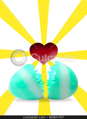 Easter egg with red heart inside stock photo, Easter egg with red heart inside by Patipat Rintharasri