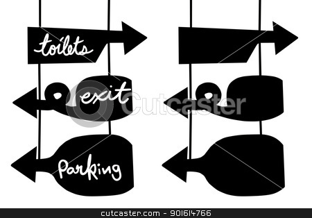 Direction sign board stock photo, Toilet, Exit, Parking direction sign board and empty sign board, Isolated background by pixs4u