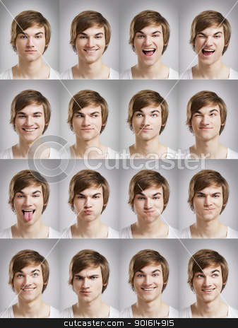 Young man portraits stock photo, Multiple portraits of a young man doing grimaces by ikostudio
