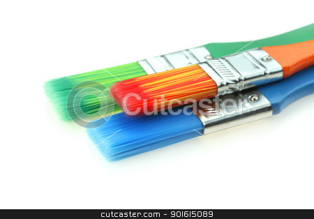 Paint brushes stock photo, Orange,blue and green paint brushes by Sreedhar Yedlapati