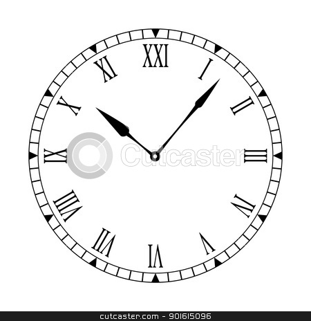 Roman clean clock face stock vector clipart, Black and white clock face with easy to read and edit hands by Michael Travers