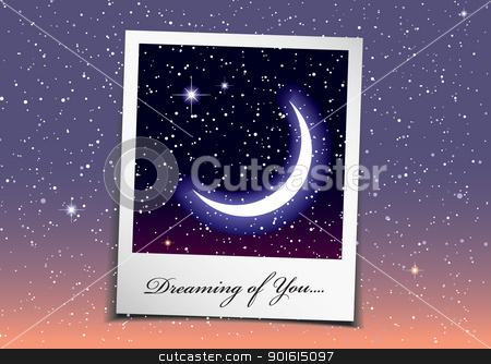 Space dream stock vector clipart, Dreaming of you at night with stars and space background by Michael Travers