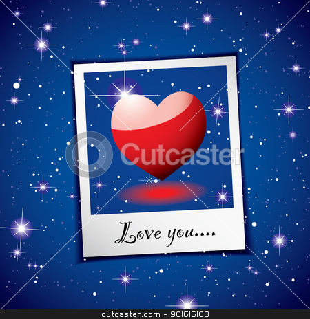 Love heart space photo stock vector clipart, Love heart concept with space background and instant photograph by Michael Travers