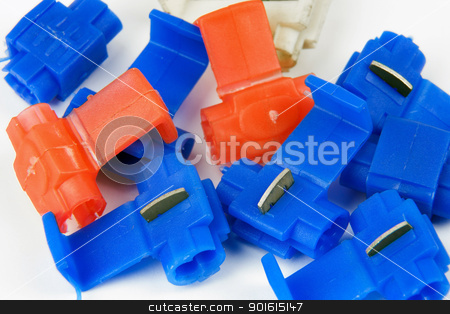 clamps of electrical car installation stock photo, clamps for mounting electrical wires in a car by marekusz