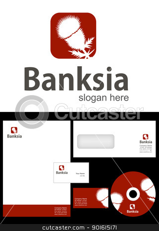 Banksia Logo Design stock vector clipart, Banksia Logo Design and corporate identity package including logo, letterhead, business card, envelope and cd label. by Nabeel Zytoon