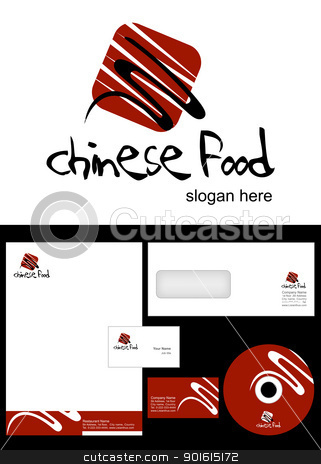 Chinese Food Logo Design stock vector clipart, Chinese Food Logo Design and corporate identity package including logo, letterhead, business card, envelope and cd label. by Nabeel Zytoon