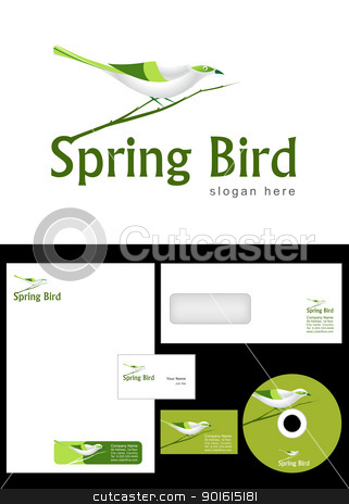Spring Bird Logo stock vector clipart, Spring Bird Logo Design and corporate identity package including logo, letterhead, business card, envelope and cd label. by Nabeel Zytoon