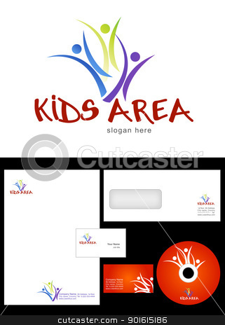 Kids Club stock vector clipart, Kids Club, Area, Team, Section Logo Design and corporate identity package including logo, letterhead, business card, envelope and cd label. by Nabeel Zytoon