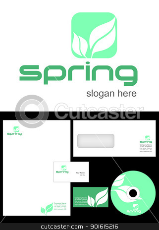 Spring Logo Design stock vector clipart,  Spring Logo Design and corporate identity package including logo, letterhead, business card, envelope and cd label. by Nabeel Zytoon