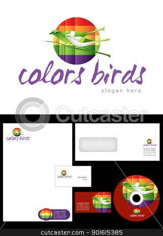 Color birds Logo Design stock vector clipart, Color birds Logo Design and corporate identity package including logo, letterhead, business card, envelope and cd label. by Nabeel Zytoon