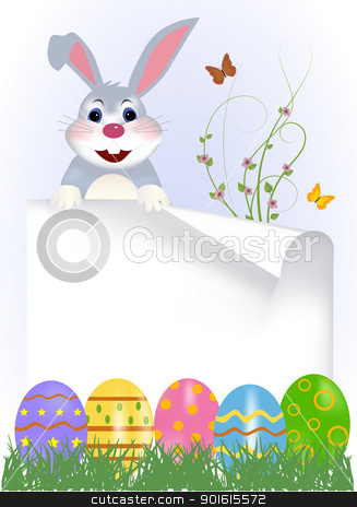 happy easter bunny stock vector clipart, Happy easter bunny with colored eggs. Easter card  by monicaodo