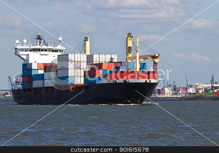 Containership on the river leaving port stock photo, Containership leaving port with container harbor in background by Colette Planken-Kooij