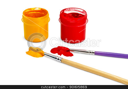Gouache red and yellow  with a tassels stock photo, Two bottles of red and yellow gouache and two brushes, stained blots isolated on white background by rezkrr