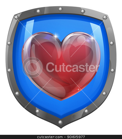 Heart shield concept stock vector clipart, Conceptual illustration of a heart symbol on a shield icon. Could be an icon for liking or loving something. by Christos Georghiou