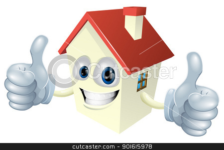 Cartoon House Mascot stock vector clipart, Illustration of a cartoon house mascot giving a double thumbs up by Christos Georghiou