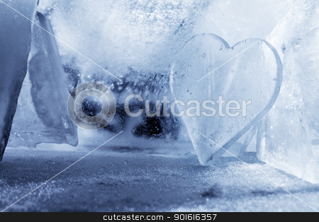 Heart of Ice stock photo, A Piece of ice shaped like a heart. by Stocksnapper