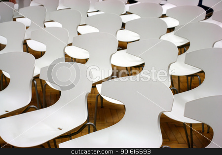 Chairs in hall stock photo, White chairs in hall on wooden floor ready for audience by vaximilian