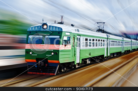 fast passanger train stock photo, fast passanger train, motion blur by Petr Malyshev