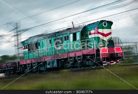 fast cargo train stock photo, fast cargo train, motion blur by Petr Malyshev