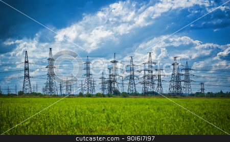 summer meadow with high-voltage towers stock photo, summer meadow with high-voltage towers row by Petr Malyshev