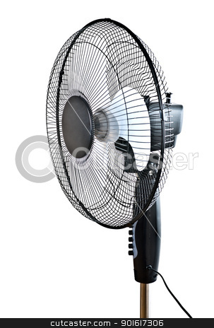 black office fan stock photo, black office fan isolated on white by Petr Malyshev