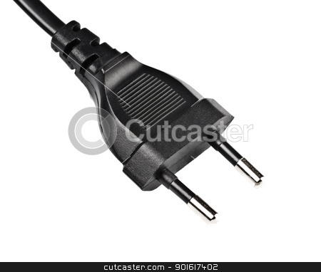 black electric plug stock photo, black electric plug isolated on white by Petr Malyshev