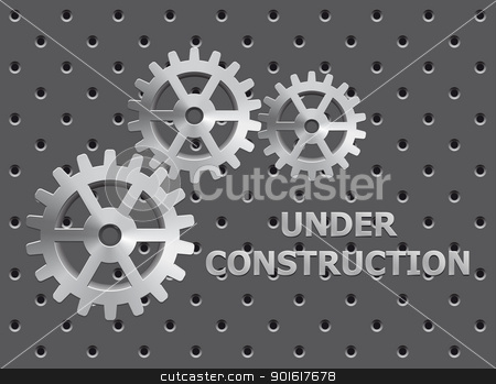 Under Construction stock vector clipart, Illustration of under construction on perforation background by kurkalukas