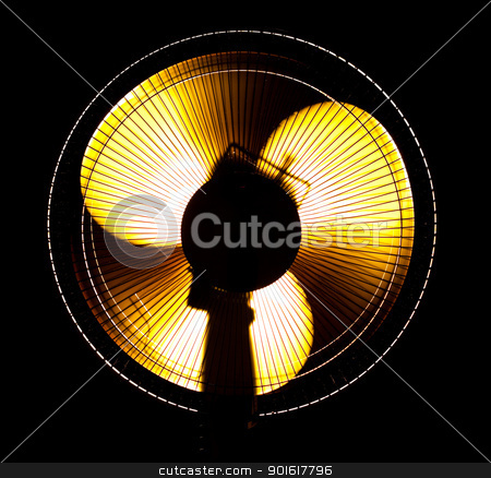 big office fan in yellow light stock photo, big office fan in yellow light isolated on black by Petr Malyshev